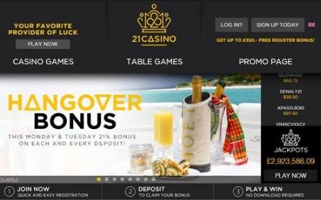 21Casino Live Casino Face
